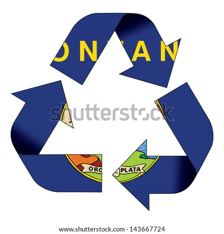 Recycle symbol flag of Montana - stock photo