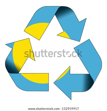 Recycle symbol flag of Palau