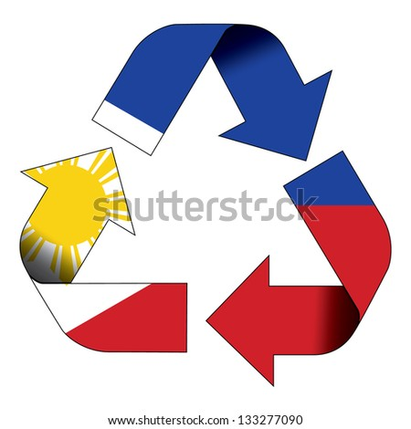 Recycle symbol flag of Philippines - stock photo