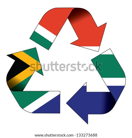 Recycle symbol flag of South Africa - stock photo