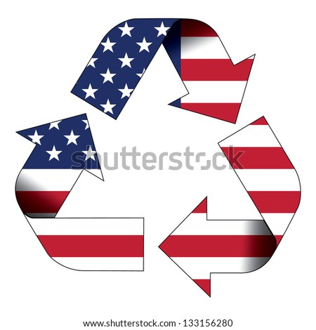 Recycle symbol flag of United States - stock photo
