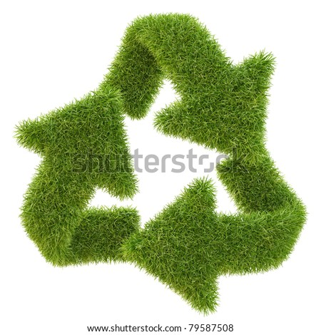 Recycle symbol from grass. isolated on white. - stock photo
