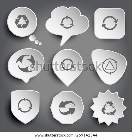recycle symbol, killer whale as recycling symbol. White raster buttons on gray. - stock photo