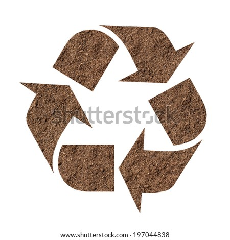 Recycle symbol made of soil isolated on white background - stock photo