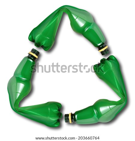 Recycle symbol made of used plastic bottles  - stock photo