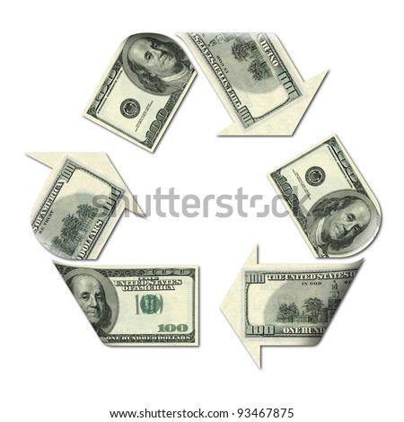 recycle symbol made with dollars banknotes 3d illustration - stock photo