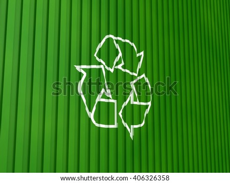 Recycle Symbol on a Container Background | 3D Illustration - stock photo