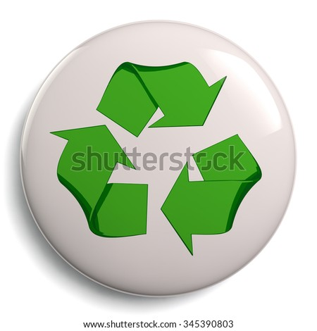 Recycle symbol or sign badge of conservation. Eco friendly green icon isolated on white background. Clipping path included for easy selection.
