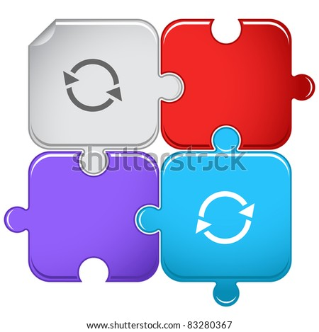 Recycle symbol. Raster puzzle. Vector version is in portfolio. - stock photo