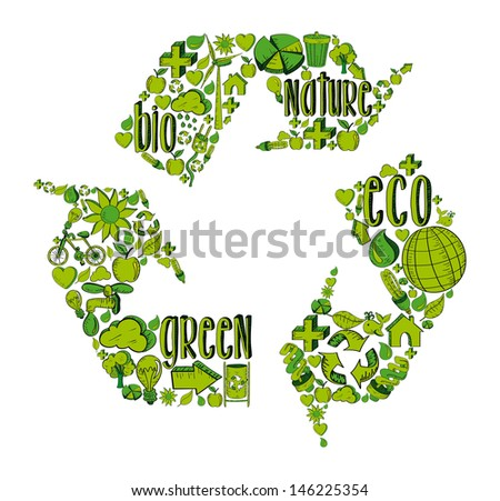 Recycle symbol with environmental green hand drawn icons.