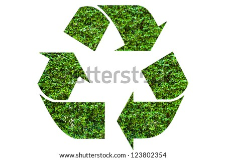 Recycle symbol with leaf texture, isolated on white background - stock photo