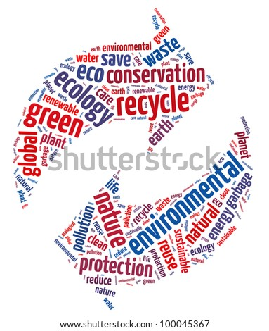 Recycle symbol with text arrangement illustration. Informative words. Environment concept.