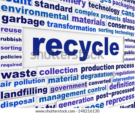 Recycle technological words concept. Global ecological issue creative message background