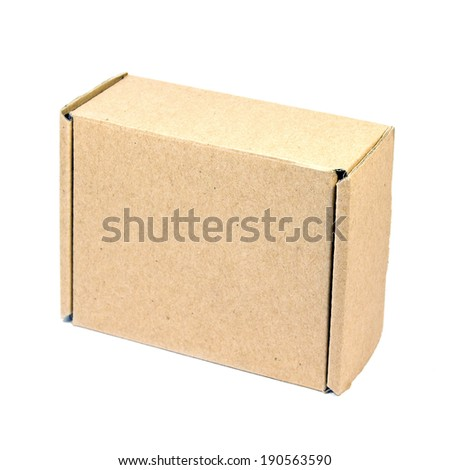 Recycled brown paper box isolated on white background in concept of reduce, reuse and recycle for saving the forests.