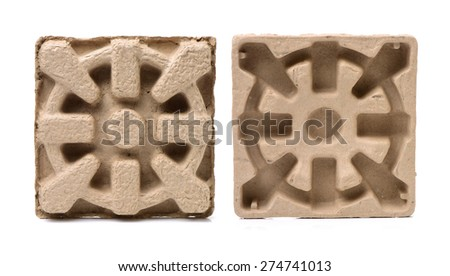Recycled brown Paper Pulp Protective Packaging on White Background