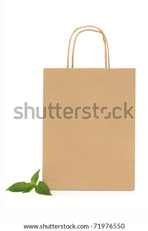 Recycled brown paper shopping bag with handle and green leaf sprigs, over white background. - stock photo