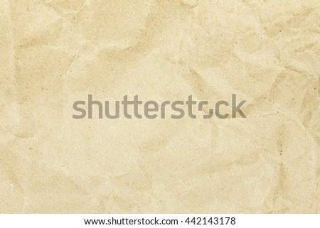 Recycled crumpled brown paper texture background for design with copy space for text or image.