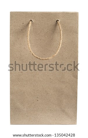 Recycled paper bag with hemp rope handles isolated on white background