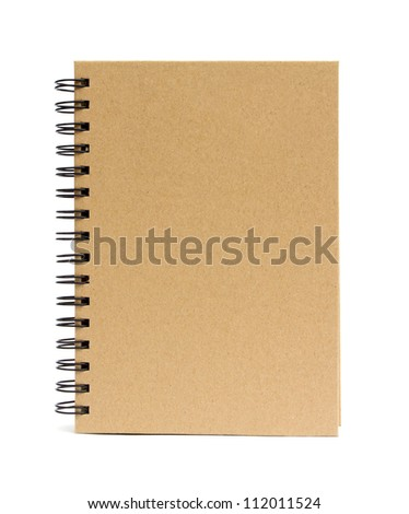 Recycled paper blank notebook front cover on white background.