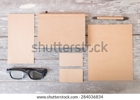 recycled paper identity mock up - stock photo