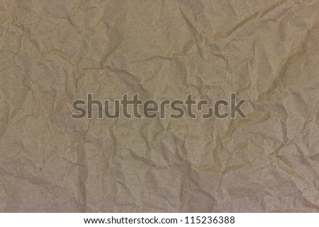 Recycled paper new brown crumpled. - stock photo
