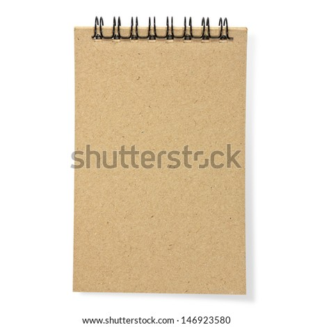 recycled paper notebook front cover on white background - stock photo