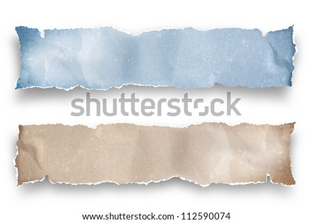 recycled ripped note paper - stock photo