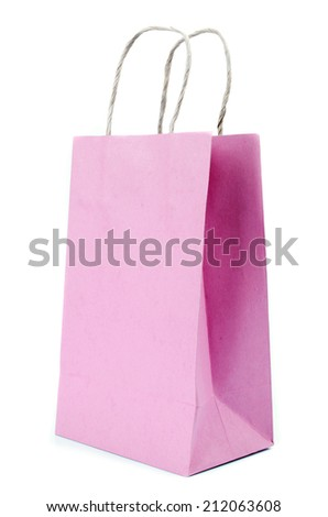 Recycled  Shopping blue paste  paper bag on white background .
