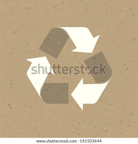 Recycled sign on reuse paper. Raster version, vector file available in portfolio. - stock photo