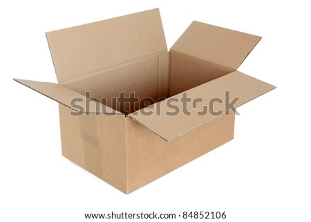 Recycled taped cardboard posting and shipping box with lid open isolated over white background.