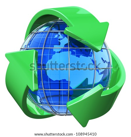 Recycling and environment protection concept: blue Earth globe covered by green recycling symbol isolated on white background - stock photo
