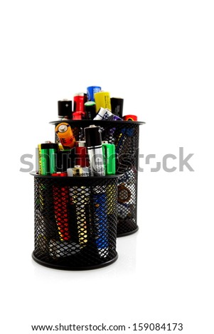 Recycling and renewable energy sources, aa different batteries background