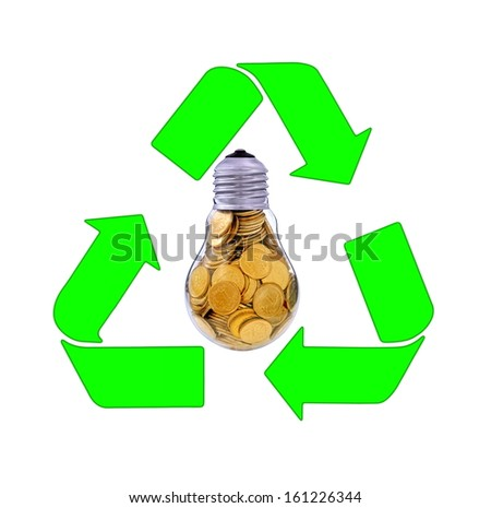 Recycling and renewable energy sources, glass bulb motif - stock photo