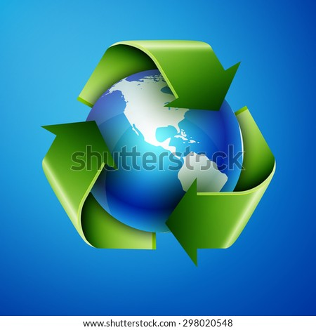 recycling arrows and blue earth,  - stock photo