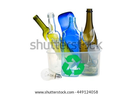 Recycling bin filled with glasses