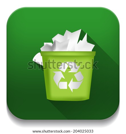 recycling bin icon With long shadow over app button