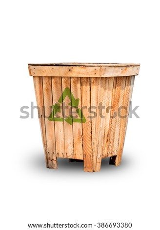 Recycling bins made of wood on white background. File contains a clipping path.