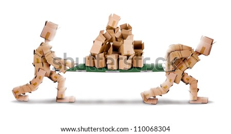 Recycling boxes by box men and stretcher on a white background - stock photo