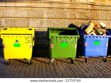 recycling colorful trash bin for separate garbage,glass,paper,plastic - stock photo