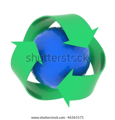 Recycling concept image. High resolution computer generated graphic.