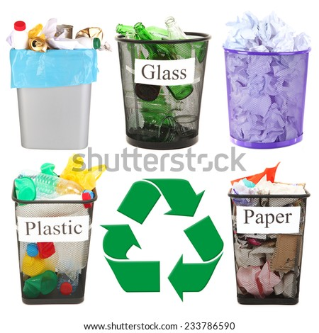 Recycling concept, isolated on white - stock photo
