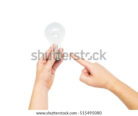 recycling, electricity, environment and ecology concept - close up of hand holding tungsten light bulb lightbulb or lamp, man hand holding light bulb, Energy saving light bulb on white bakground