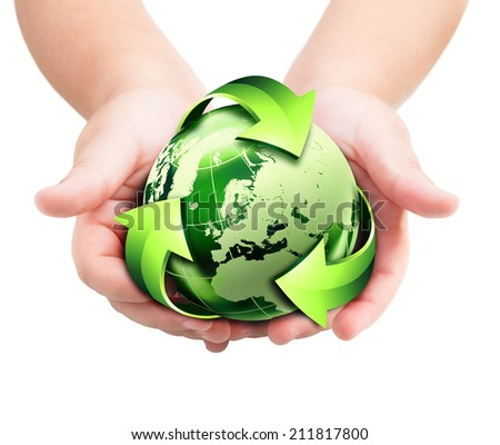 recycling - future to the hands of new generation -  Europe, elements of this image furnished by NASA  - stock photo