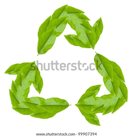 Recycling green symbol created from leaves. Design element on white - stock photo