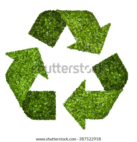 Recycling logo symbol from the green grass. Isolated on white - stock photo