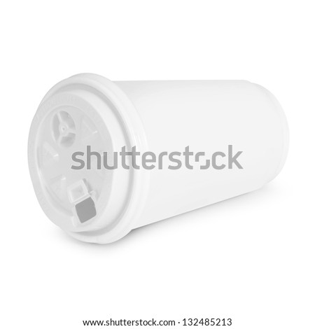 recycling paper glass on white background