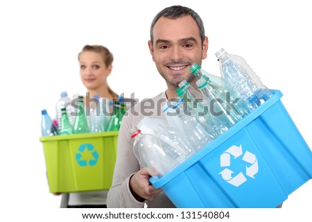 Recycling plastic bottles - stock photo