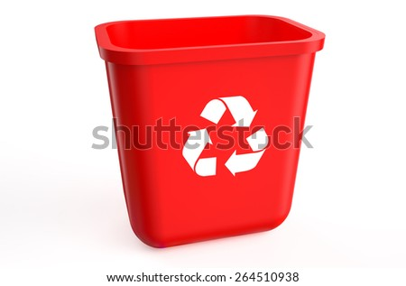 recycling red container isolated on  white background