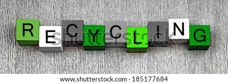 Recycling, sign for eco and green issues, global warming, sustainable and renewable energy, global footprint, recycling resources and the environment, panoramic. - stock photo