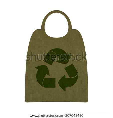 recycling symbol and shopping bags on a linen background - stock photo